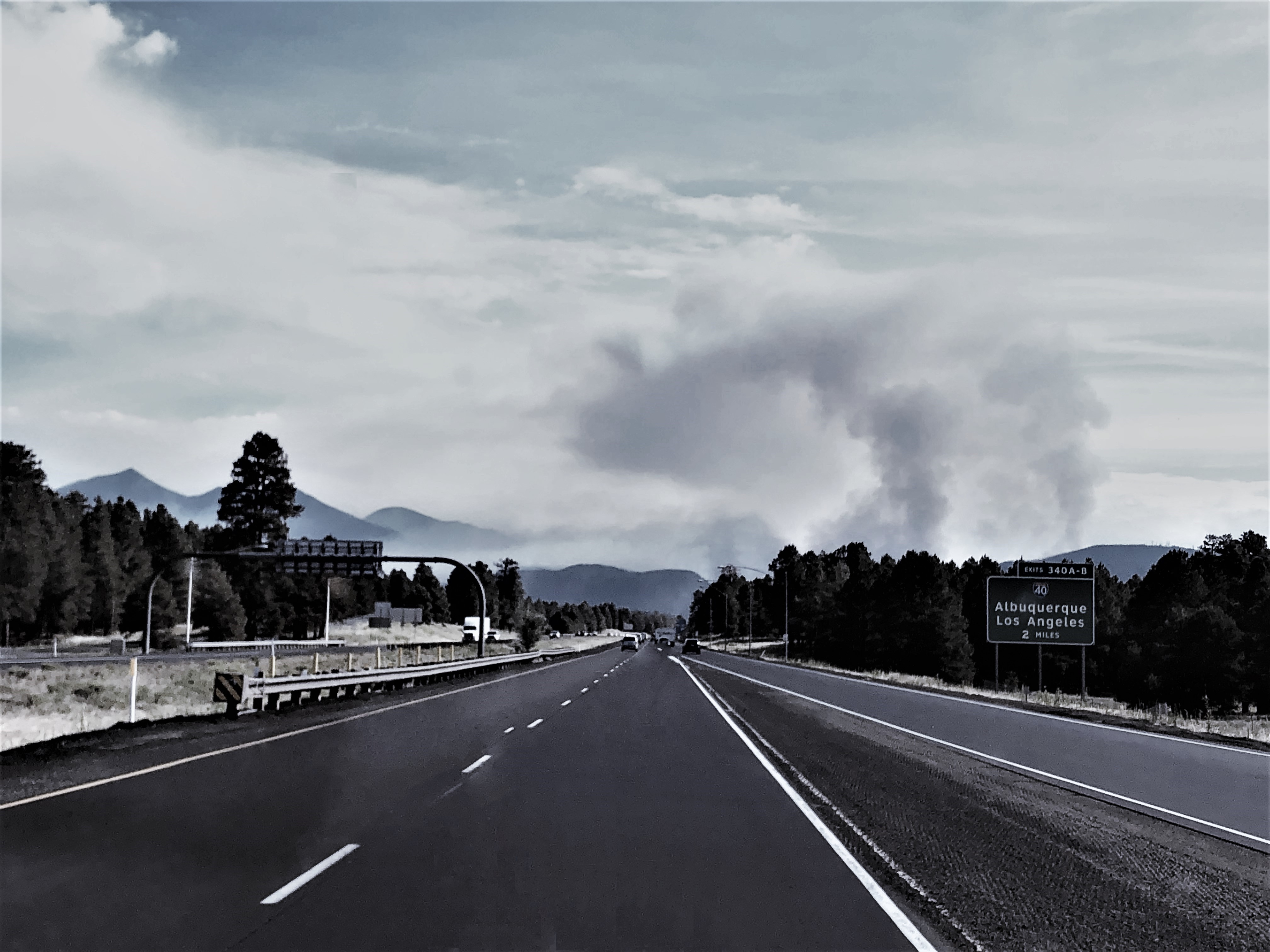 Plume of smoke from I-17