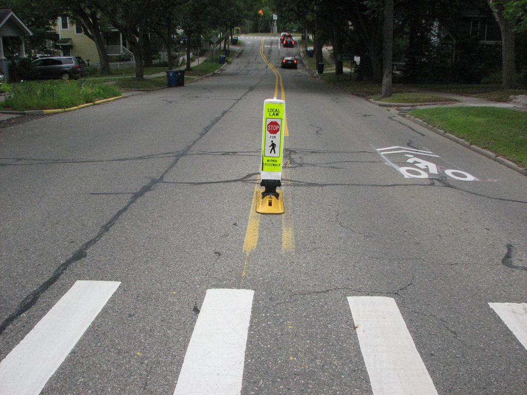 """In-Street """"Stop for Pedestrians"""" Sign"""