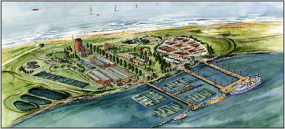 Artist rendering of a potential future for the Humboldt Bay Harbor.