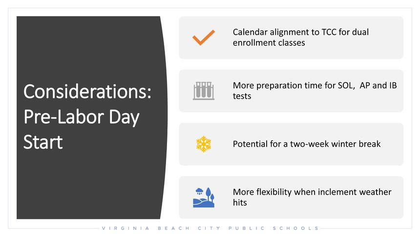 Calendar alignment to TCC for dual enrollment classes, More preparation time for SOL,  AP and IB tests, Potential for a two-week winter break, More flexibility when inclement weather hits