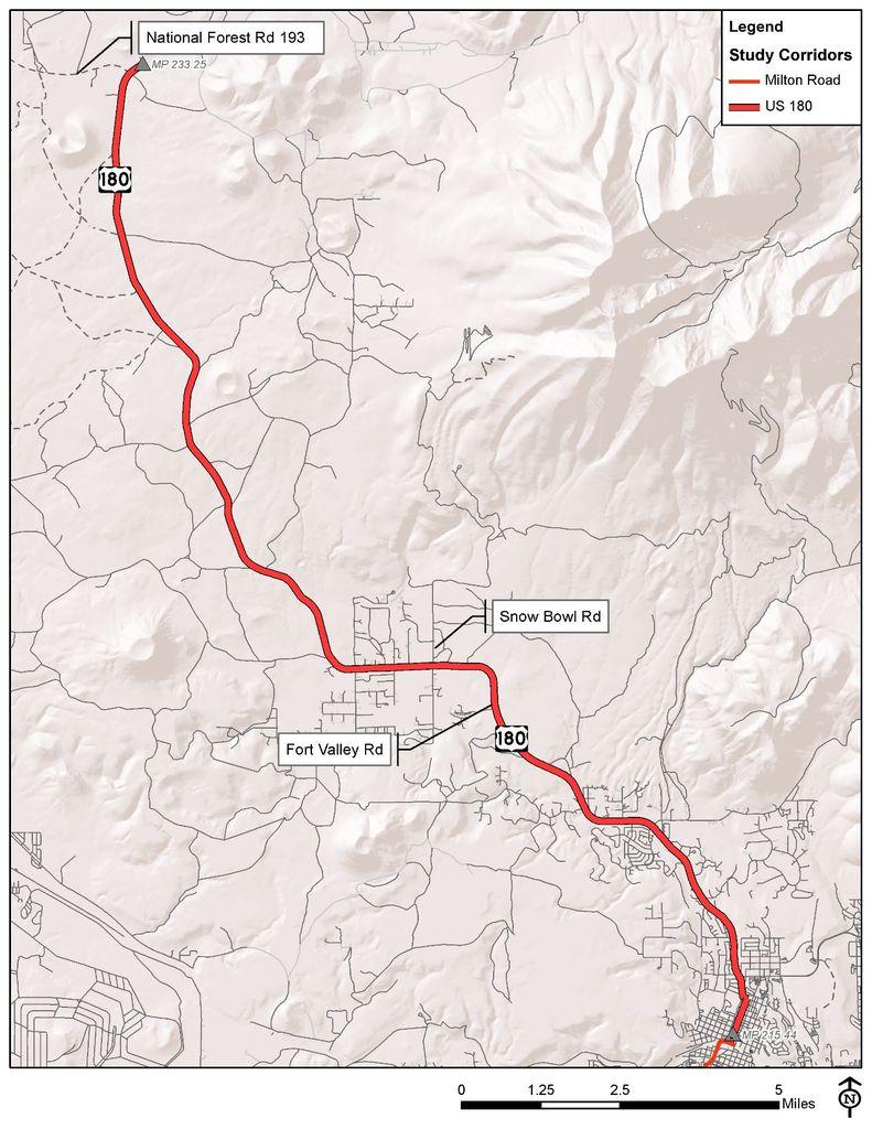 Map of U S 180 Corridor Study extent
