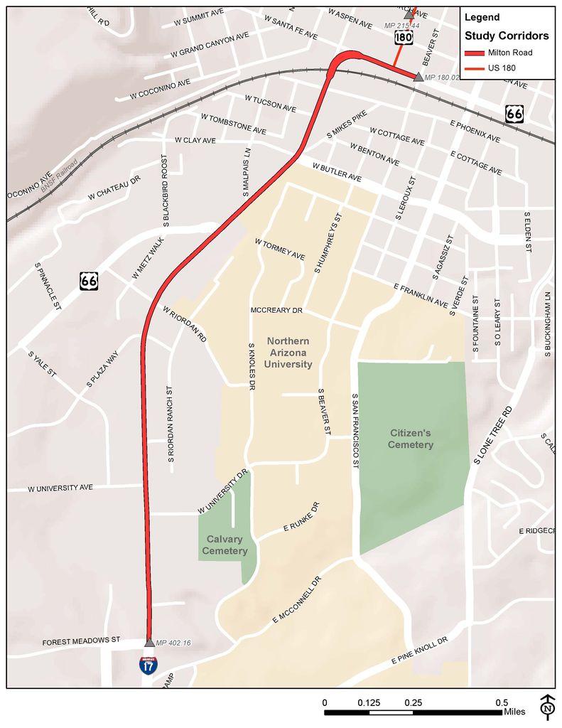 Map of Milton Road Corridor Master Plan extent
