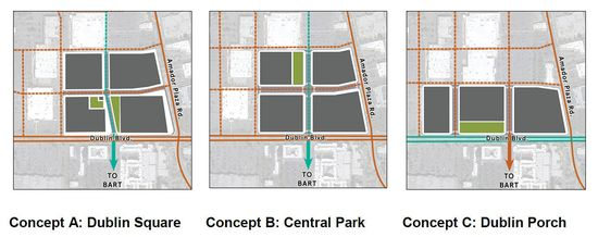 Downtown Dublin Park Concepts A, B and C