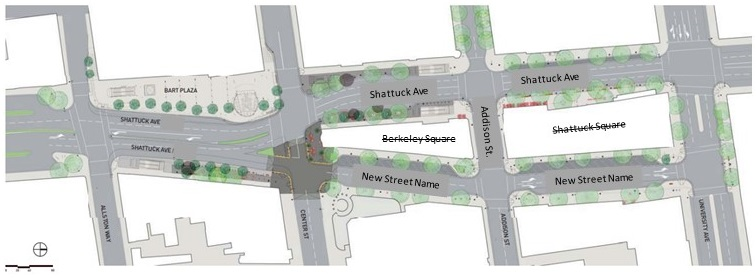 Map of the Shattuck Avenue 'East' Renaming Project Area