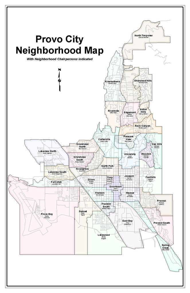 map of Provo neighborhoods