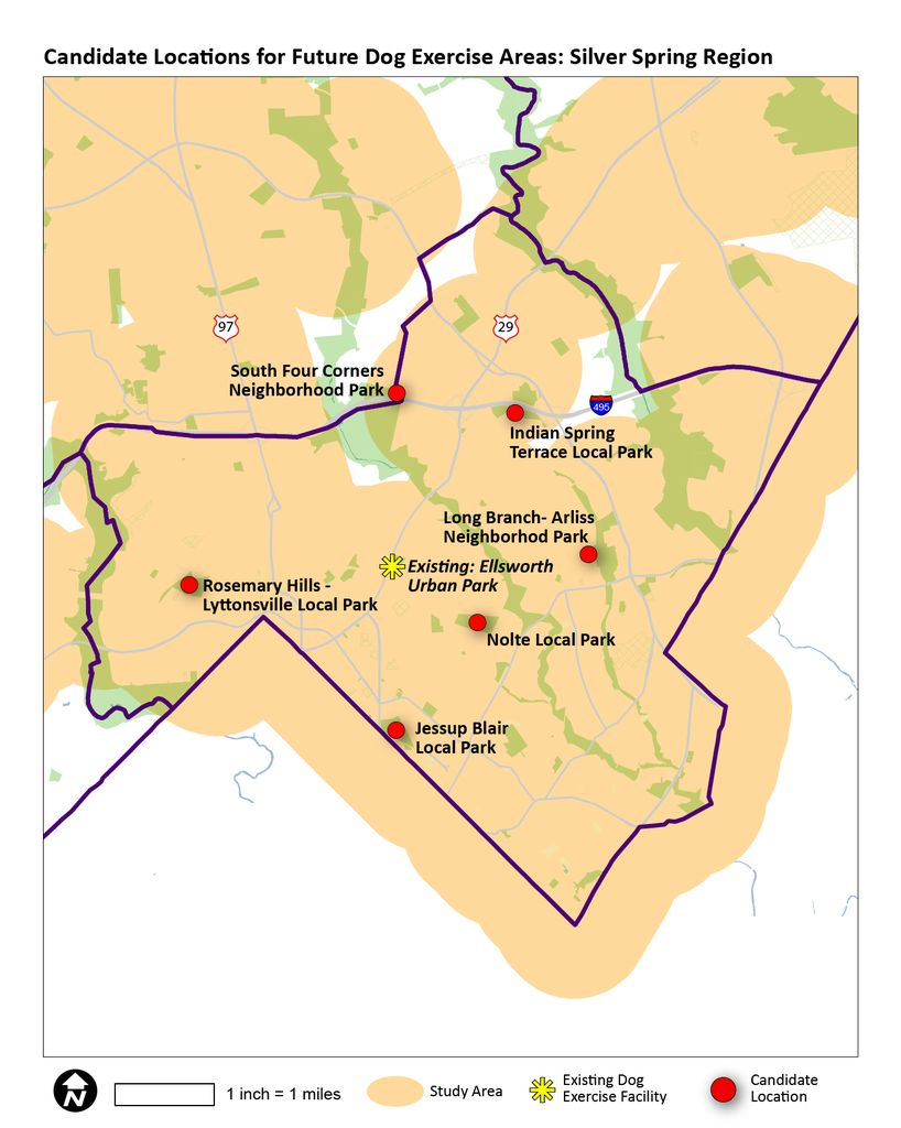 Map showing Silver Spring / Takoma Park options for future dog parks.