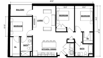 Three Bedroom Apartment - 1273 Square Feet