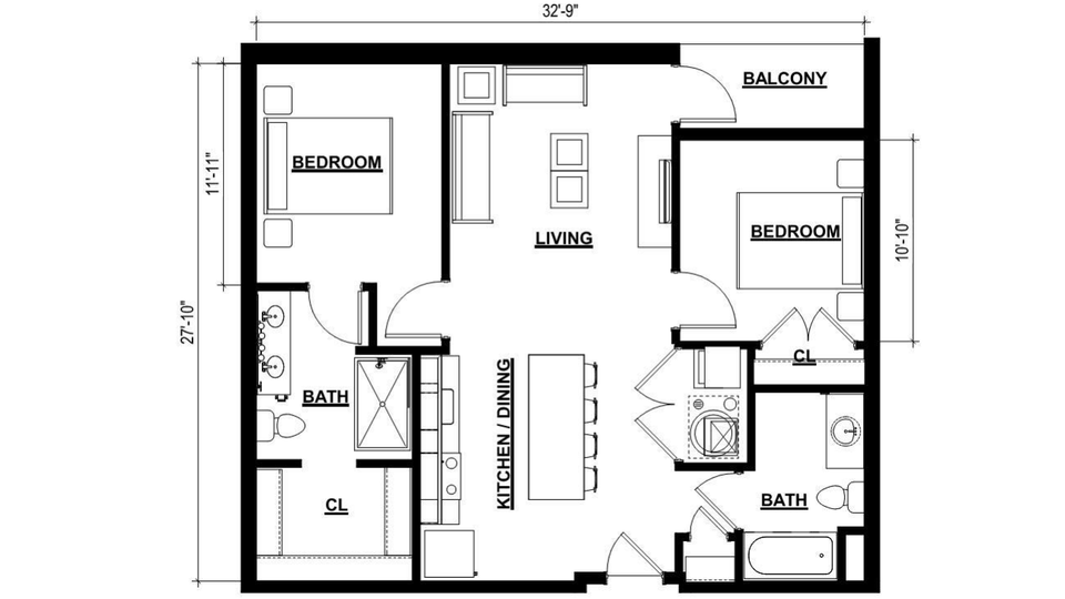 Two Bedroom Apartment - 912 Square Feet